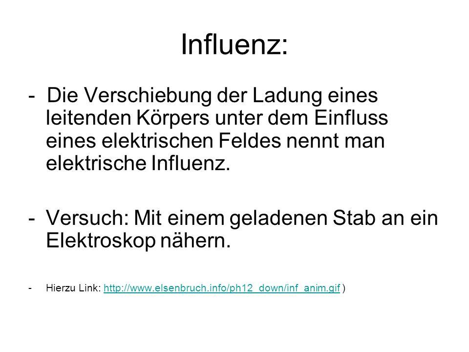 Influenz: - Die Verschiebung der Ladung eines leitenden Körpers unter dem Einfluss eines elektrischen Feldes nennt man elektrische Influenz. -Versuch: