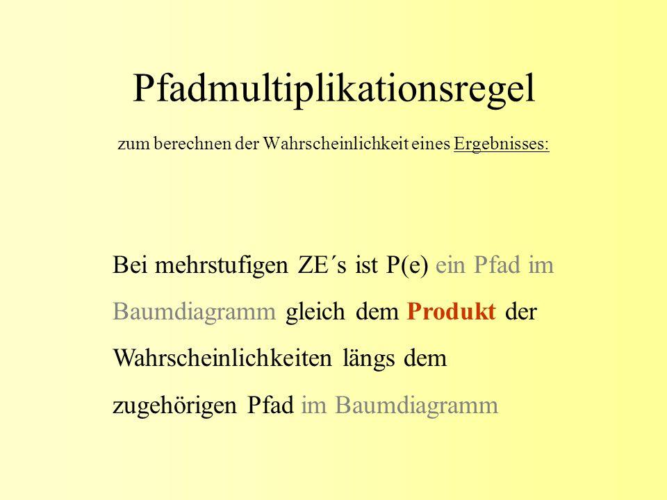 Pfadmultiplikationsregel zum berechnen der Wahrscheinlichkeit eines Ergebnisses: Bei mehrstufigen ZE´s ist P(e) ein Pfad im Baumdiagramm gleich dem Pr