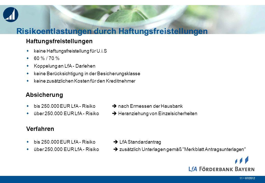 11 07/2012 Risikoentlastungen durch Haftungsfreistellungen Haftungsfreistellungen keine Haftungsfreistellung für U.i.S 60 % / 70 % Koppelung an LfA -