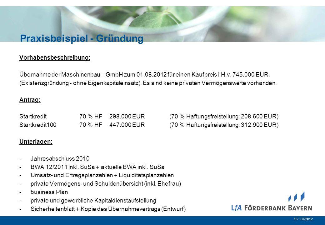 15 07/2012 Vorhabensbeschreibung: Übernahme der Maschinenbau – GmbH zum 01.08.2012 für einen Kaufpreis i.H.v. 745.000 EUR. (Existenzgründung - ohne Ei