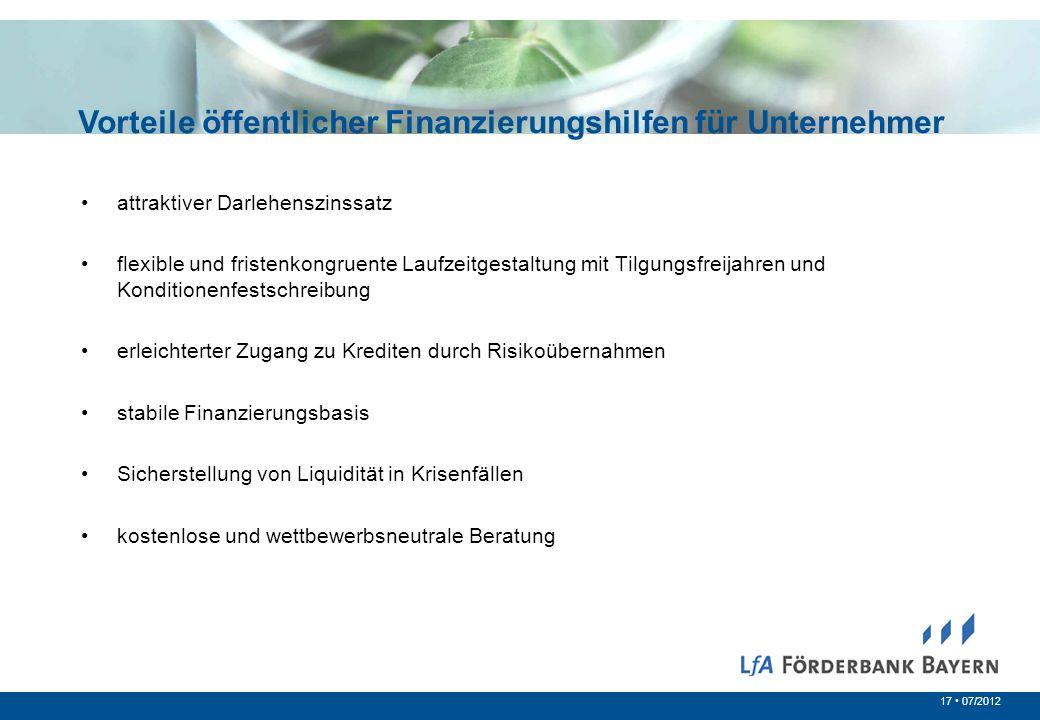 17 07/2012 Vorteile öffentlicher Finanzierungshilfen für Unternehmer attraktiver Darlehenszinssatz flexible und fristenkongruente Laufzeitgestaltung m
