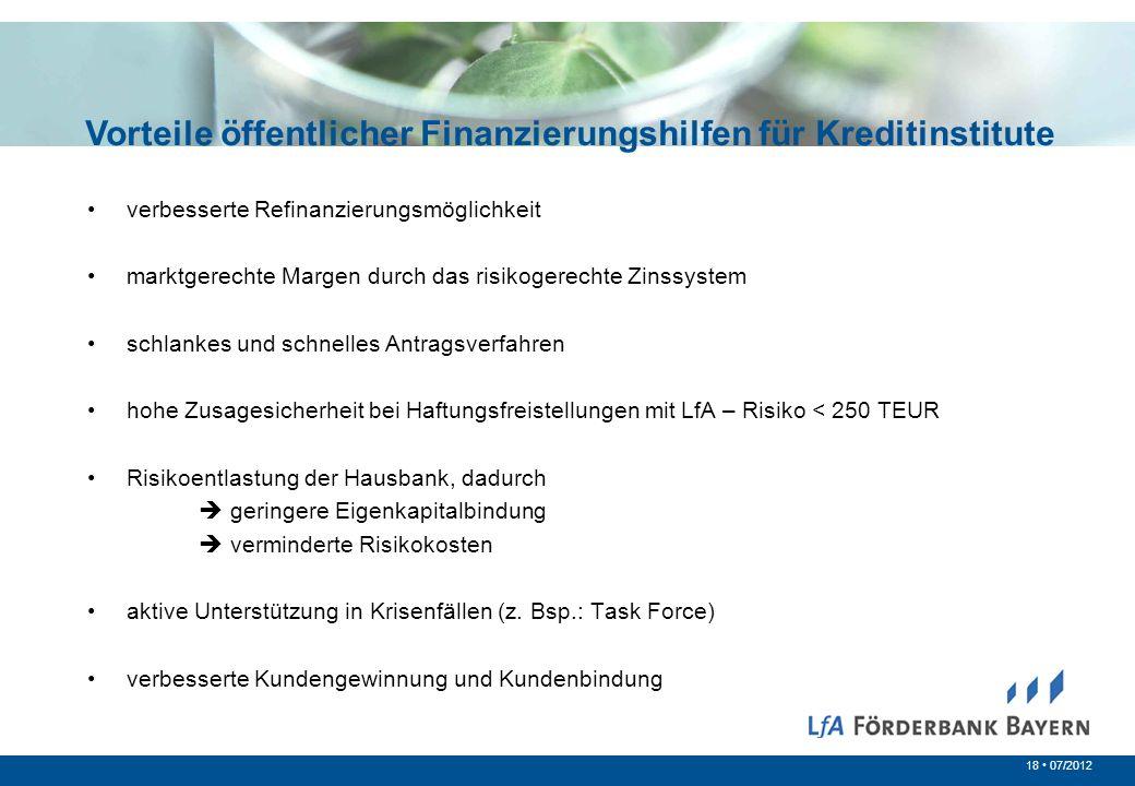 18 07/2012 Vorteile öffentlicher Finanzierungshilfen für Kreditinstitute verbesserte Refinanzierungsmöglichkeit marktgerechte Margen durch das risikog