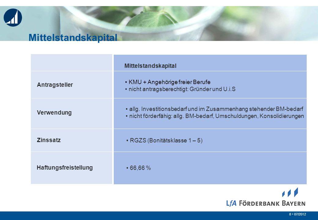 8 07/2012 Antragsteller Verwendung Zinssatz Mittelstandskapital KMU + Angehörige freier Berufe nicht antragsberechtigt: Gründer und U.i.S allg. Invest
