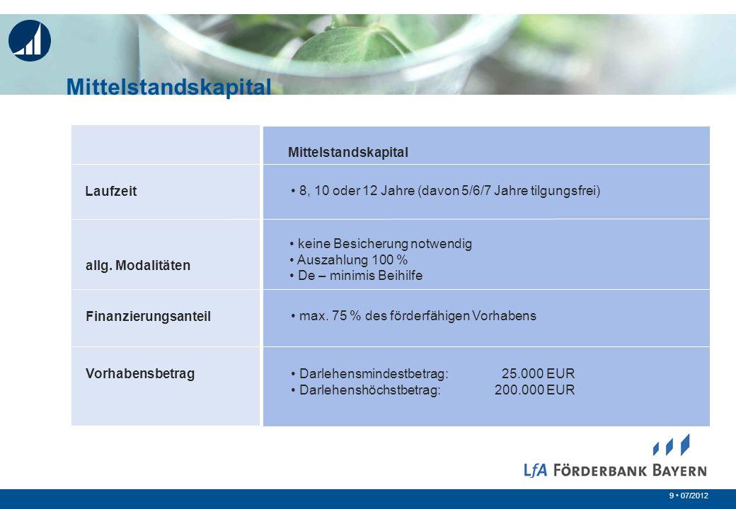 9 07/2012 allg. Modalitäten Finanzierungsanteil Vorhabensbetrag Mittelstandskapital keine Besicherung notwendig Auszahlung 100 % De – minimis Beihilfe