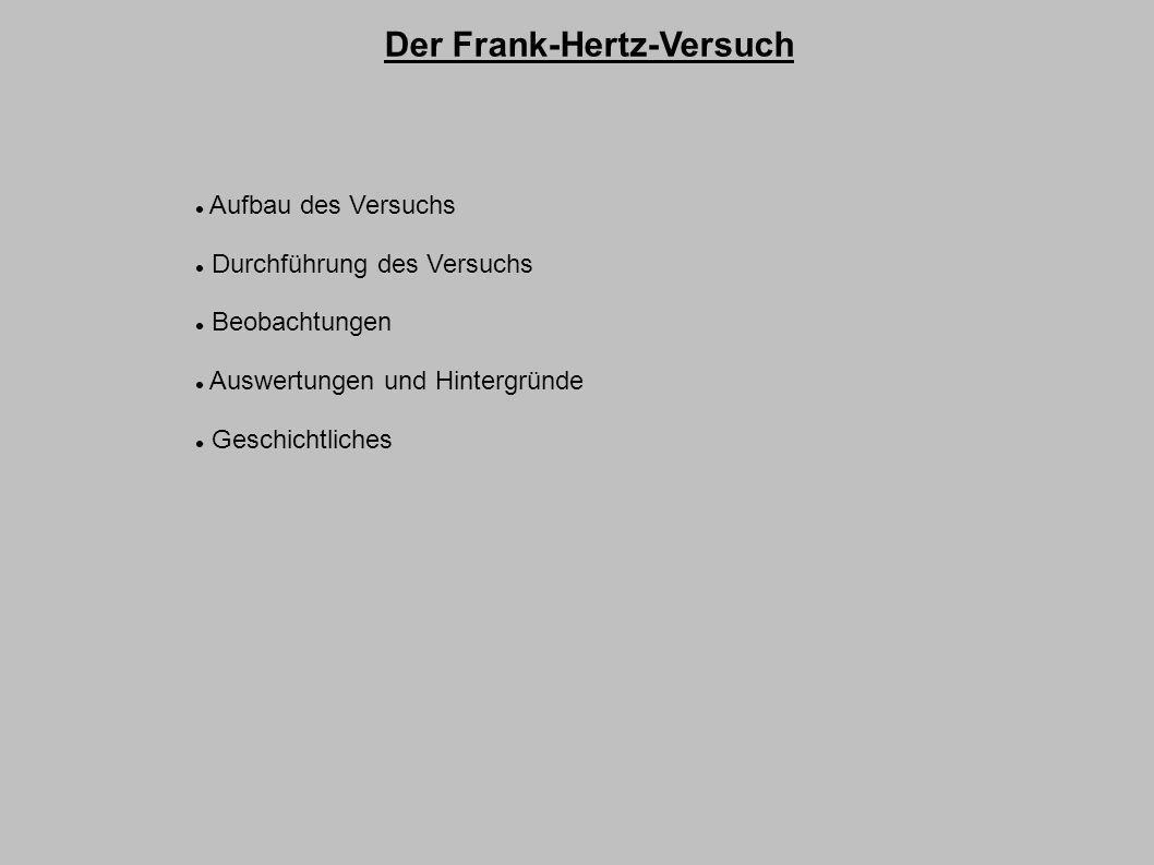 Der Frank-Hertz-Versuch Aufbau des Versuchs Durchführung des Versuchs Beobachtungen Auswertungen und Hintergründe Geschichtliches