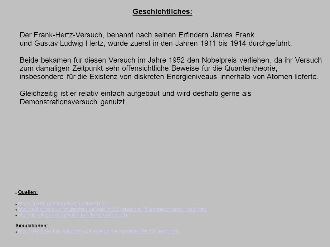 Geschichtliches: Der Frank-Hertz-Versuch, benannt nach seinen Erfindern James Frank und Gustav Ludwig Hertz, wurde zuerst in den Jahren 1911 bis 1914