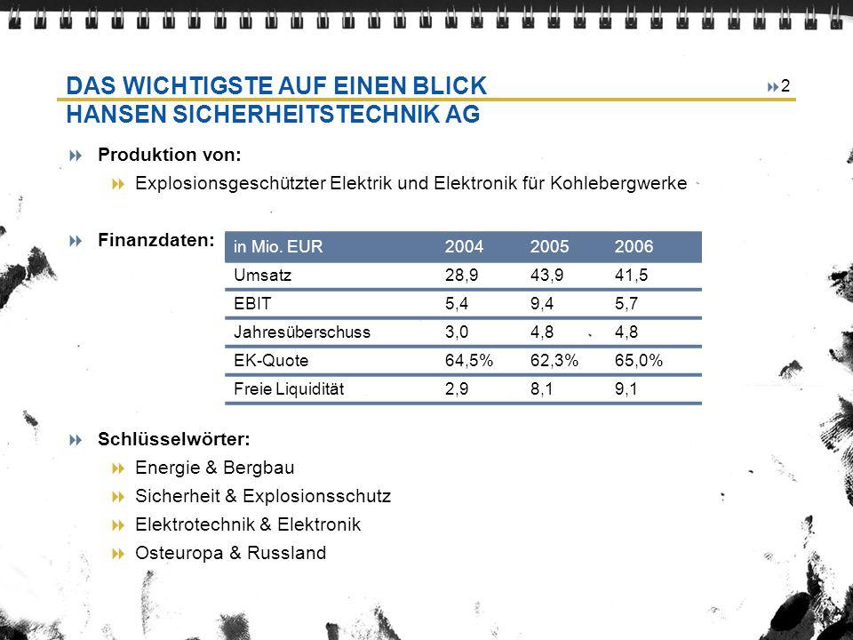 2 DAS WICHTIGSTE AUF EINEN BLICK HANSEN SICHERHEITSTECHNIK AG Produktion von: Explosionsgeschützter Elektrik und Elektronik für Kohlebergwerke Finanzd