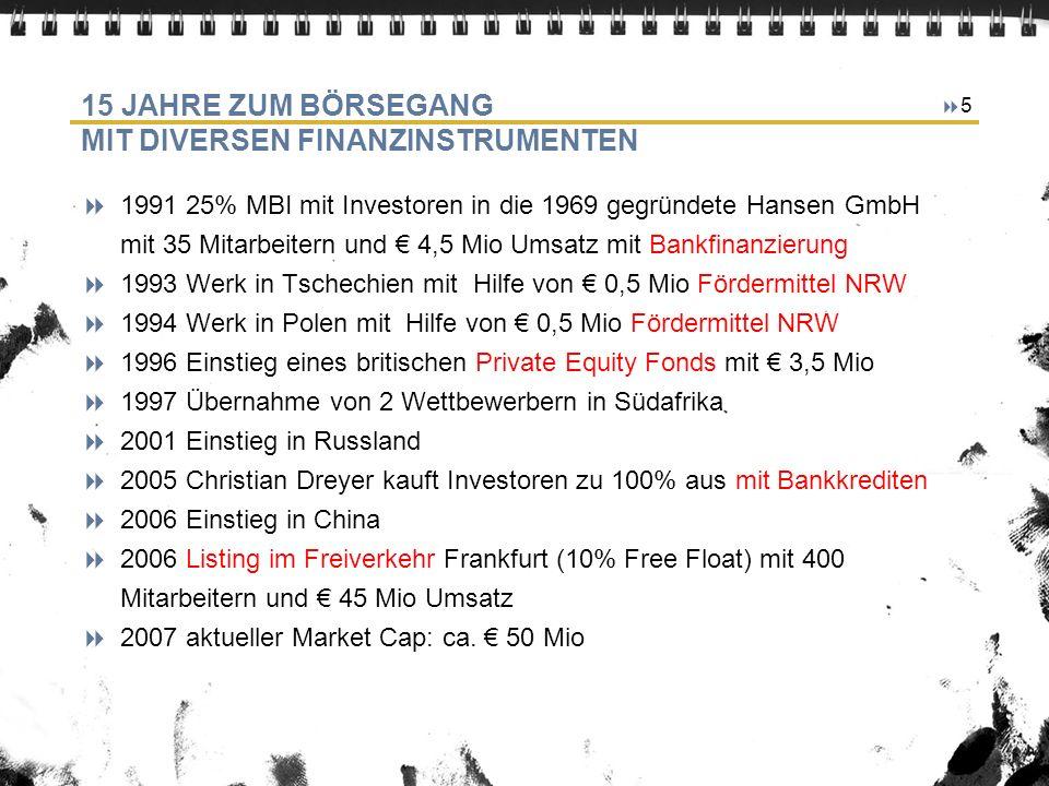 5 15 JAHRE ZUM BÖRSEGANG MIT DIVERSEN FINANZINSTRUMENTEN 1991 25% MBI mit Investoren in die 1969 gegründete Hansen GmbH mit 35 Mitarbeitern und 4,5 Mio Umsatz mit Bankfinanzierung 1993 Werk in Tschechien mit Hilfe von 0,5 Mio Fördermittel NRW 1994 Werk in Polen mit Hilfe von 0,5 Mio Fördermittel NRW 1996 Einstieg eines britischen Private Equity Fonds mit 3,5 Mio 1997 Übernahme von 2 Wettbewerbern in Südafrika 2001 Einstieg in Russland 2005 Christian Dreyer kauft Investoren zu 100% aus mit Bankkrediten 2006 Einstieg in China 2006 Listing im Freiverkehr Frankfurt (10% Free Float) mit 400 Mitarbeitern und 45 Mio Umsatz 2007 aktueller Market Cap: ca.