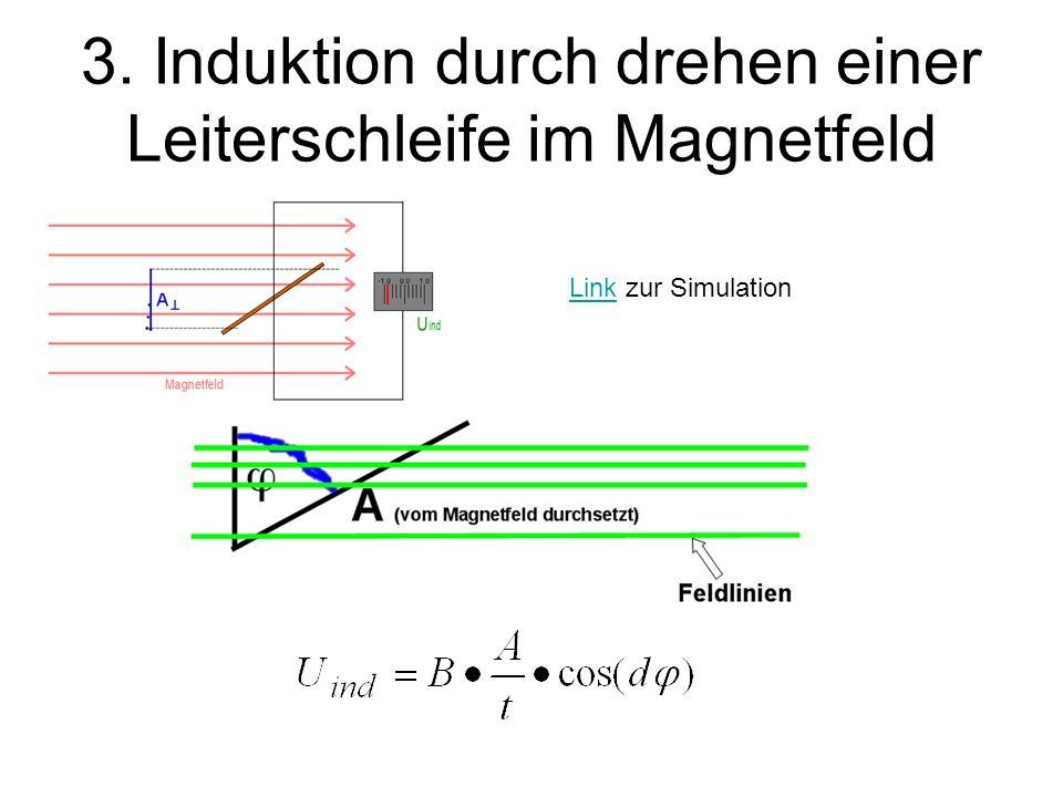 3. Induktion durch drehen einer Leiterschleife im Magnetfeld LinkLink zur Simulation