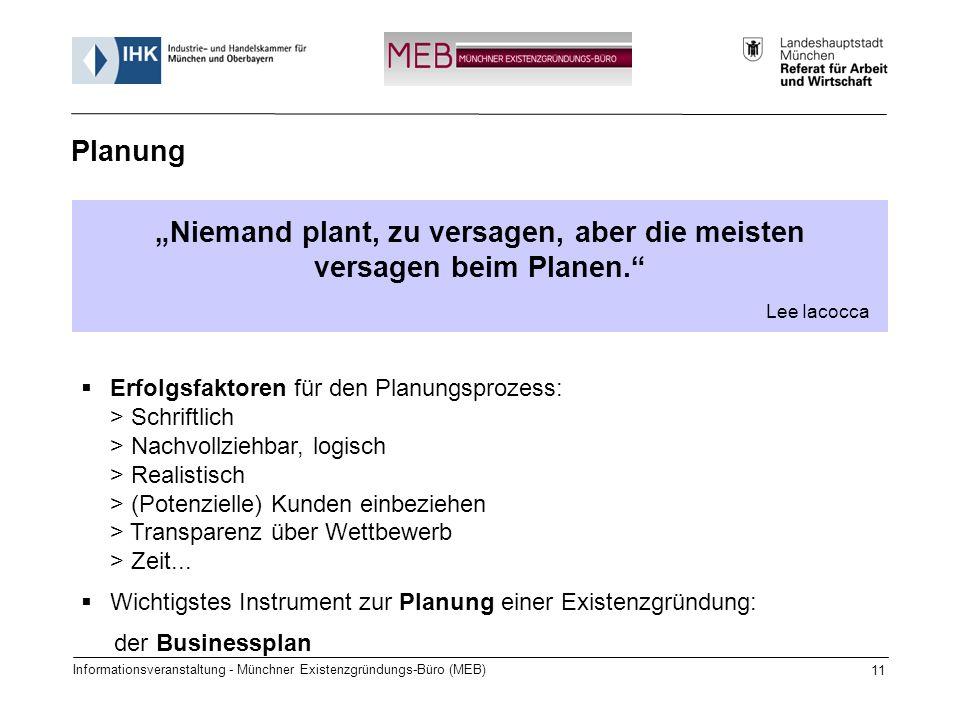 Informationsveranstaltung - Münchner Existenzgründungs-Büro (MEB) 11 Niemand plant, zu versagen, aber die meisten versagen beim Planen. Lee Iacocca Pl