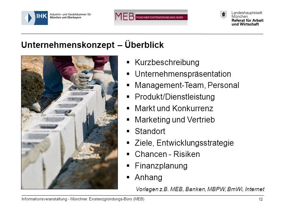 Informationsveranstaltung - Münchner Existenzgründungs-Büro (MEB) 12 Kurzbeschreibung Unternehmenspräsentation Management-Team, Personal Produkt/Diens