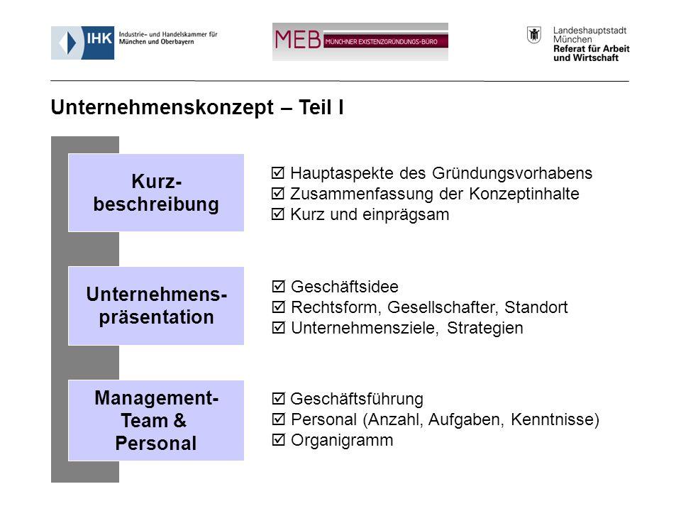 Informationsveranstaltung - Münchner Existenzgründungs-Büro (MEB) 13 Hauptaspekte des Gründungsvorhabens Zusammenfassung der Konzeptinhalte Kurz und e