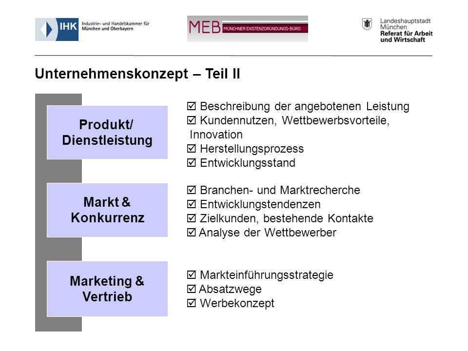 Informationsveranstaltung - Münchner Existenzgründungs-Büro (MEB) 14 Beschreibung der angebotenen Leistung Kundennutzen, Wettbewerbsvorteile, Innovati