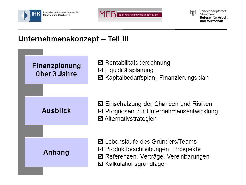 Informationsveranstaltung - Münchner Existenzgründungs-Büro (MEB) 15 Rentabilitätsberechnung Liquiditätsplanung Kapitalbedarfsplan, Finanzierungsplan