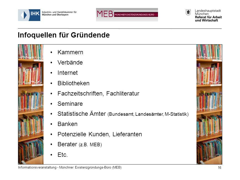 Informationsveranstaltung - Münchner Existenzgründungs-Büro (MEB) 16 Kammern Verbände Internet Bibliotheken Fachzeitschriften, Fachliteratur Seminare