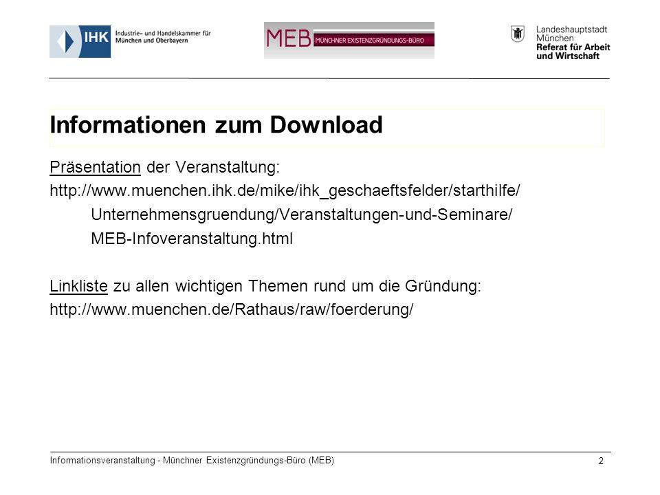 Informationsveranstaltung - Münchner Existenzgründungs-Büro (MEB) 2 Informationen zum Download Präsentation der Veranstaltung: http://www.muenchen.ihk.de/mike/ihk_geschaeftsfelder/starthilfe/ Unternehmensgruendung/Veranstaltungen-und-Seminare/ MEB-Infoveranstaltung.html Linkliste zu allen wichtigen Themen rund um die Gründung: http://www.muenchen.de/Rathaus/raw/foerderung/