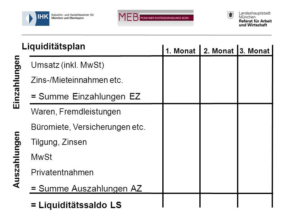 Informationsveranstaltung - Münchner Existenzgründungs-Büro (MEB) 24 Umsatz (inkl. MwSt) Zins-/Mieteinnahmen etc. = Summe Einzahlungen EZ Waren, Fremd