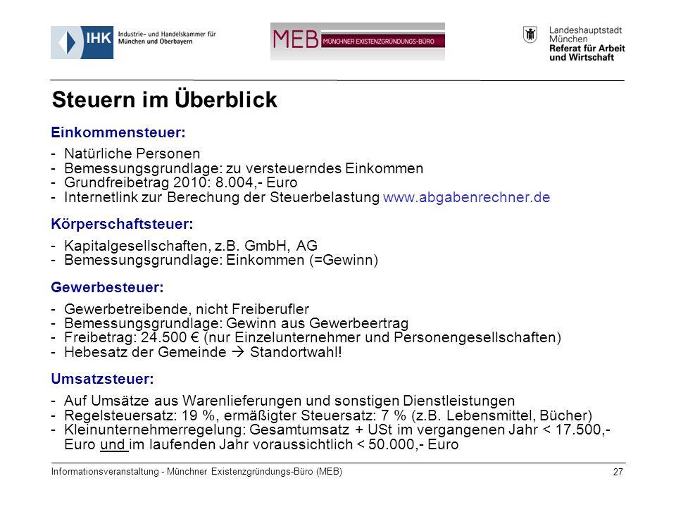 Informationsveranstaltung - Münchner Existenzgründungs-Büro (MEB) 27 Steuern im Überblick Einkommensteuer: -Natürliche Personen -Bemessungsgrundlage: