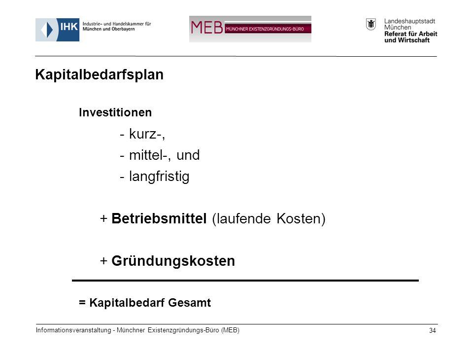 Informationsveranstaltung - Münchner Existenzgründungs-Büro (MEB) 34 Investitionen -kurz-, -mittel-, und -langfristig +Betriebsmittel (laufende Kosten) +Gründungskosten = Kapitalbedarf Gesamt Kapitalbedarfsplan