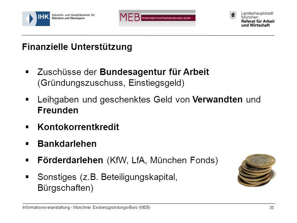 Informationsveranstaltung - Münchner Existenzgründungs-Büro (MEB) 35 Zuschüsse der Bundesagentur für Arbeit (Gründungszuschuss, Einstiegsgeld) Leihgab