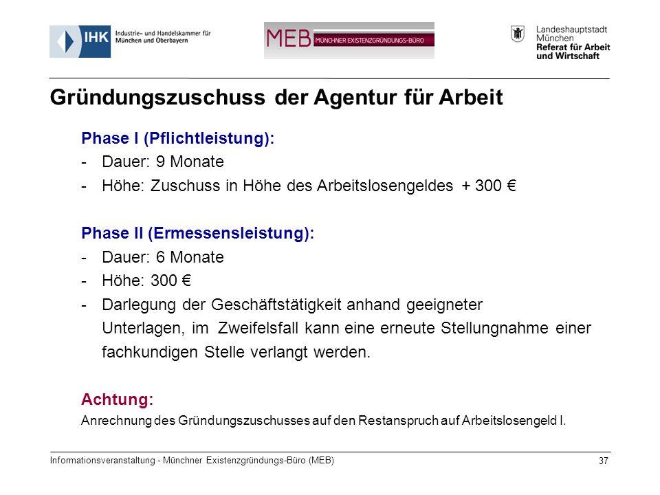 Informationsveranstaltung - Münchner Existenzgründungs-Büro (MEB) 37 Phase I (Pflichtleistung): -Dauer: 9 Monate -Höhe: Zuschuss in Höhe des Arbeitslosengeldes + 300 Phase II (Ermessensleistung): -Dauer: 6 Monate -Höhe: 300 -Darlegung der Geschäftstätigkeit anhand geeigneter Unterlagen, im Zweifelsfall kann eine erneute Stellungnahme einer fachkundigen Stelle verlangt werden.