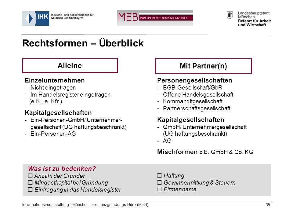 Informationsveranstaltung - Münchner Existenzgründungs-Büro (MEB) 39 Einzelunternehmen -Nicht eingetragen -Im Handelsregister eingetragen (e.K., e.