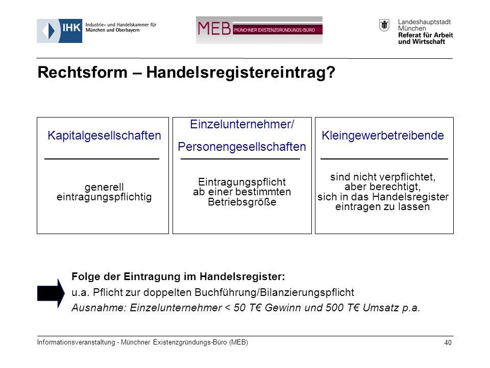 Informationsveranstaltung - Münchner Existenzgründungs-Büro (MEB) 40 Folge der Eintragung im Handelsregister: u.a. Pflicht zur doppelten Buchführung/B