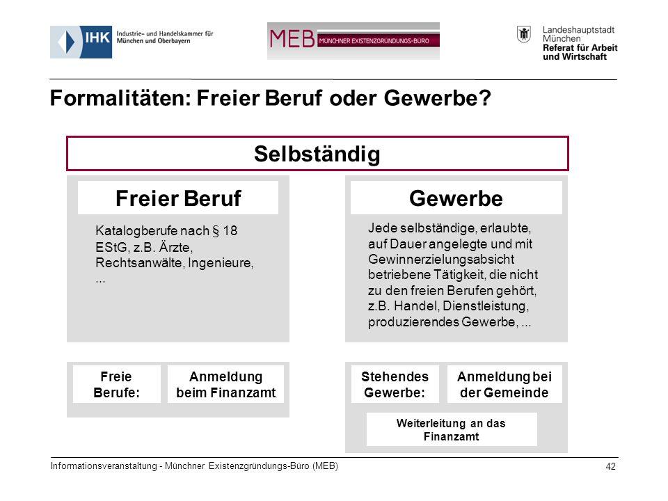Informationsveranstaltung - Münchner Existenzgründungs-Büro (MEB) 42 Freier BerufGewerbe Selbständig Katalogberufe nach § 18 EStG, z.B. Ärzte, Rechtsa