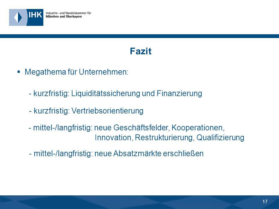 16 Fazit aber: weitere Entwicklung auf den Finanz- und Kapitalmärkten.