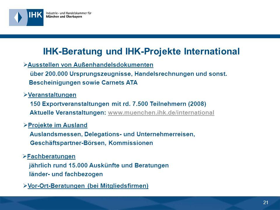 20 Monatlicher Newsletter International Alles Neue in 90 Sekunden über 5.600 Bezieher im Juni 2009 IHK Info-Service International IHK-Homepage www.ihk.muenchen.de/international Presseartikel und IHK-Publikationen z.