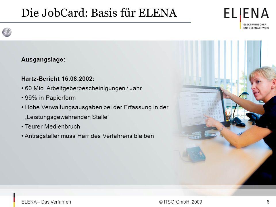 ELENA – Das Verfahren © ITSG GmbH, 20097 Die JobCard: Basis für ELENA Bedingung: Entwicklung einer auf bestehenden Standards aufbauenden, elektronischen Übertragung von Einkommensdaten an eine neutrale Stelle Einsatz einer Signaturkarte Datenabruf der leistungsgewährenden Behörde nur mit Einverständnis des Antragstellers