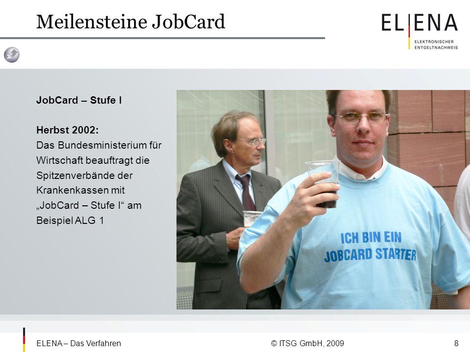 ELENA – Das Verfahren © ITSG GmbH, 20099 Meilensteine JobCard JobCard – Stufe II Herbst 2003: JobCard – Stufe II mit insgesamt 23 Bescheinigungen wird beauftragt.
