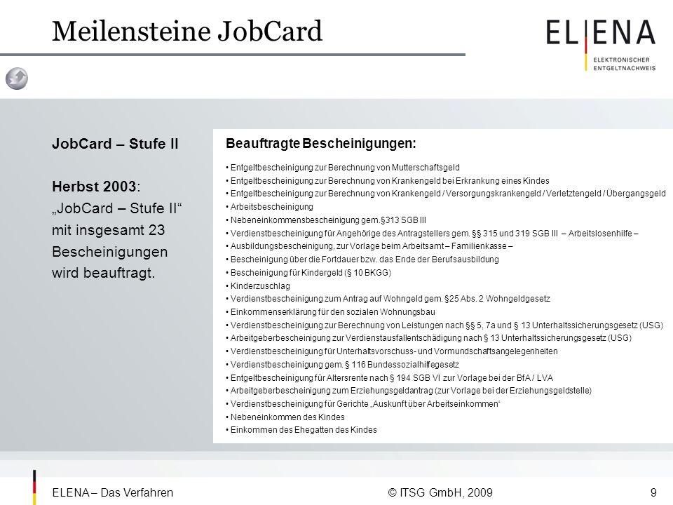 ELENA – Das Verfahren © ITSG GmbH, 200910 Meilensteine JobCard JobCard – Stufe III Herbst 2005: Das Bundesministerium für Wirtschaft beauftragt die Spitzenverbände der Krankenkassen mit der Entwicklung der JobCard – Stufe III