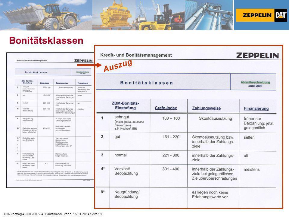 IHK-Vortrag 4. Juli 2007 - A. Bautzmann Stand: 15.01.2014 Seite 19 Bonitätsklassen Auszug
