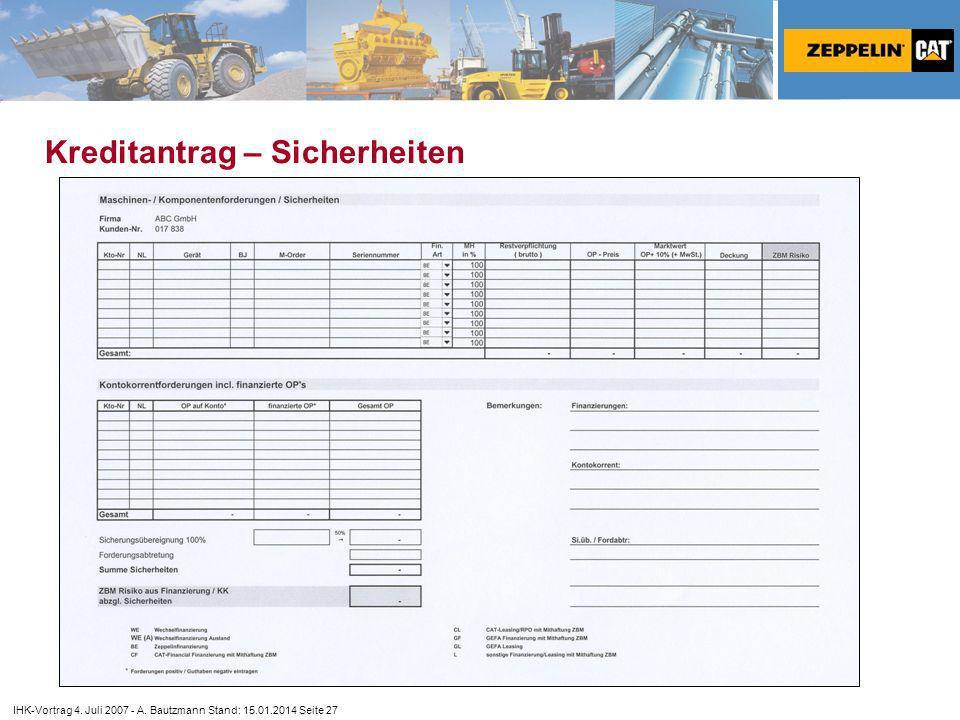IHK-Vortrag 4. Juli 2007 - A. Bautzmann Stand: 15.01.2014 Seite 27 Kreditantrag – Sicherheiten
