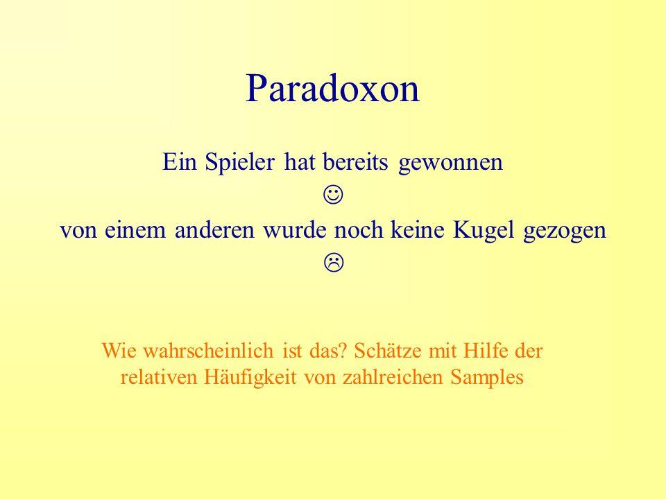 Paradoxon Ein Spieler hat bereits gewonnen von einem anderen wurde noch keine Kugel gezogen Wie wahrscheinlich ist das.