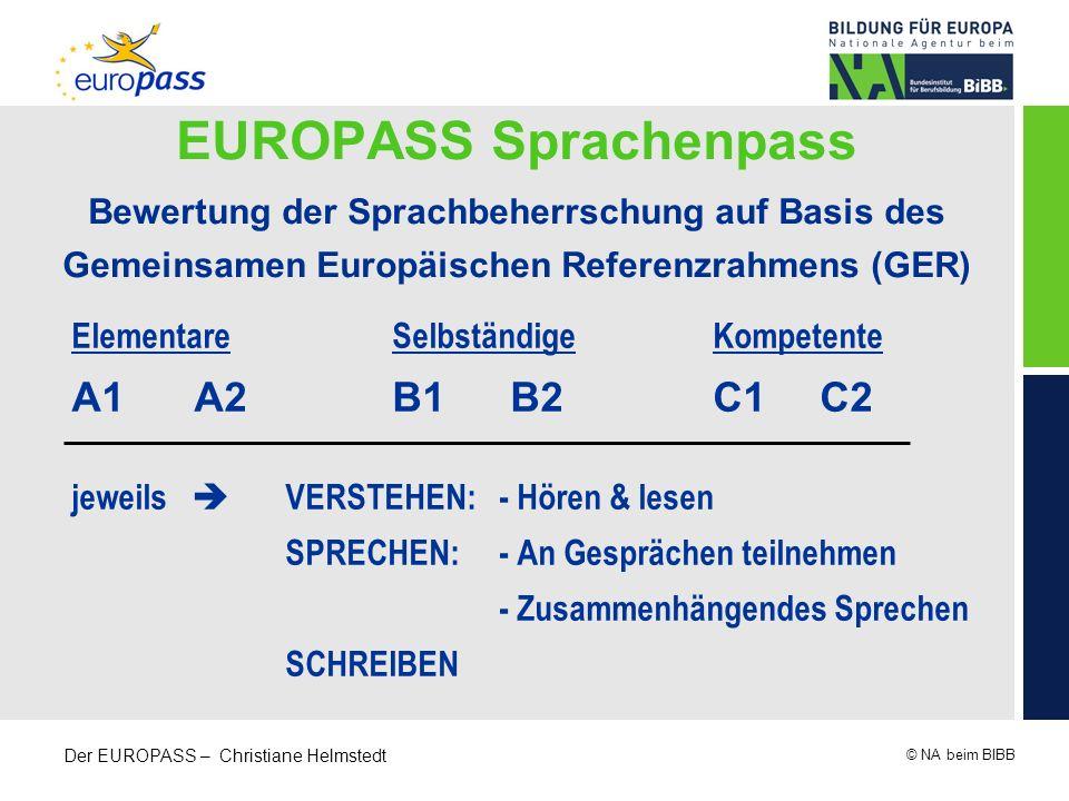 © NA beim BIBB Der EUROPASS – Christiane Helmstedt EUROPASS Sprachenpass Bewertung der Sprachbeherrschung auf Basis des Gemeinsamen Europäischen Refer