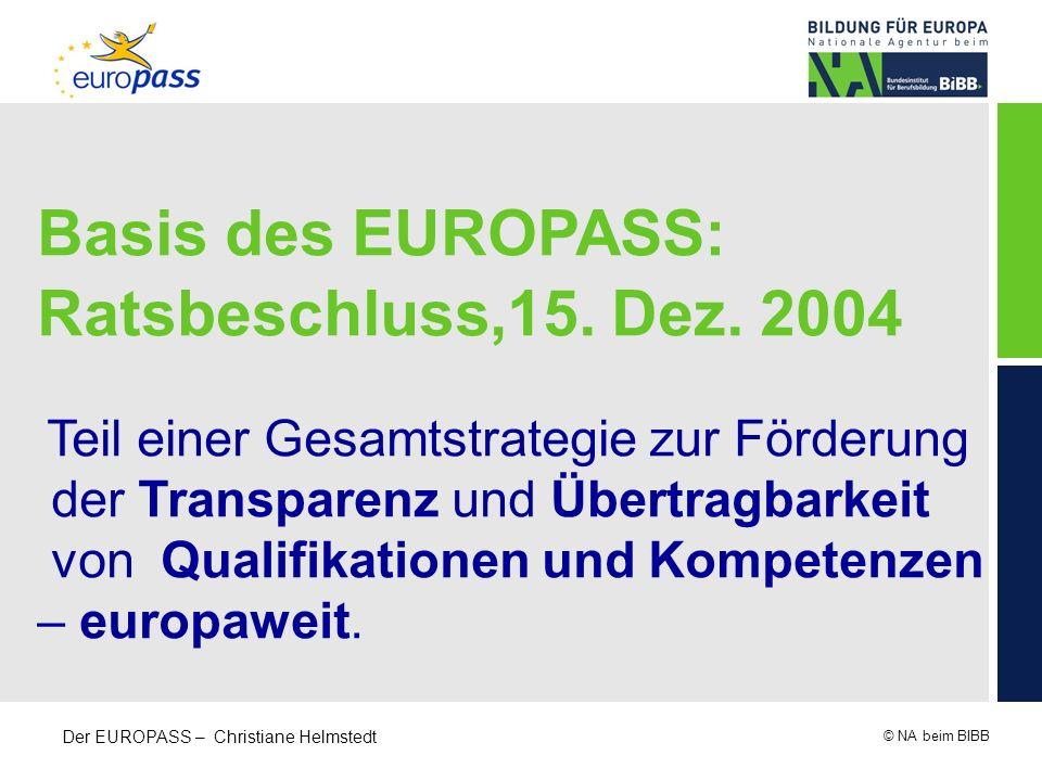 © NA beim BIBB Der EUROPASS – Christiane Helmstedt Basis des EUROPASS: Ratsbeschluss,15. Dez. 2004 Teil einer Gesamtstrategie zur Förderung der Transp