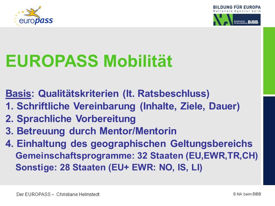 © NA beim BIBB Der EUROPASS – Christiane Helmstedt EUROPASS Mobilität Basis: Qualitätskriterien (lt. Ratsbeschluss) 1. Schriftliche Vereinbarung (Inha