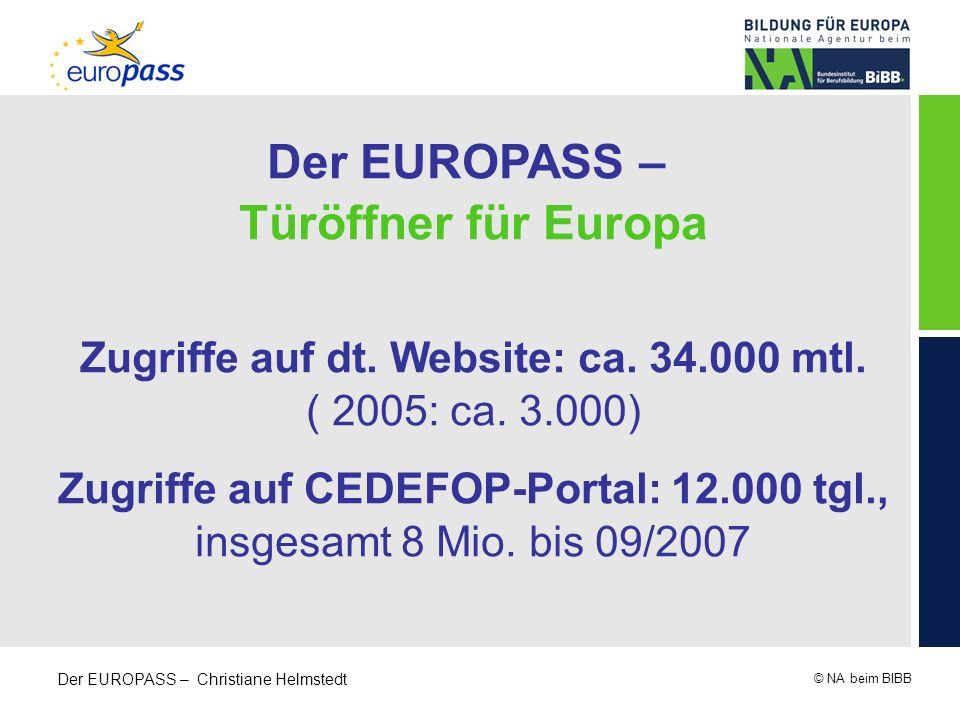 © NA beim BIBB Der EUROPASS – Christiane Helmstedt Der EUROPASS – Türöffner für Europa Zugriffe auf dt. Website: ca. 34.000 mtl. ( 2005: ca. 3.000) Zu