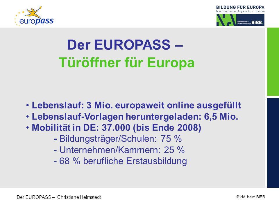 © NA beim BIBB Der EUROPASS – Christiane Helmstedt Der EUROPASS – Türöffner für Europa Lebenslauf: 3 Mio. europaweit online ausgefüllt Lebenslauf-Vorl