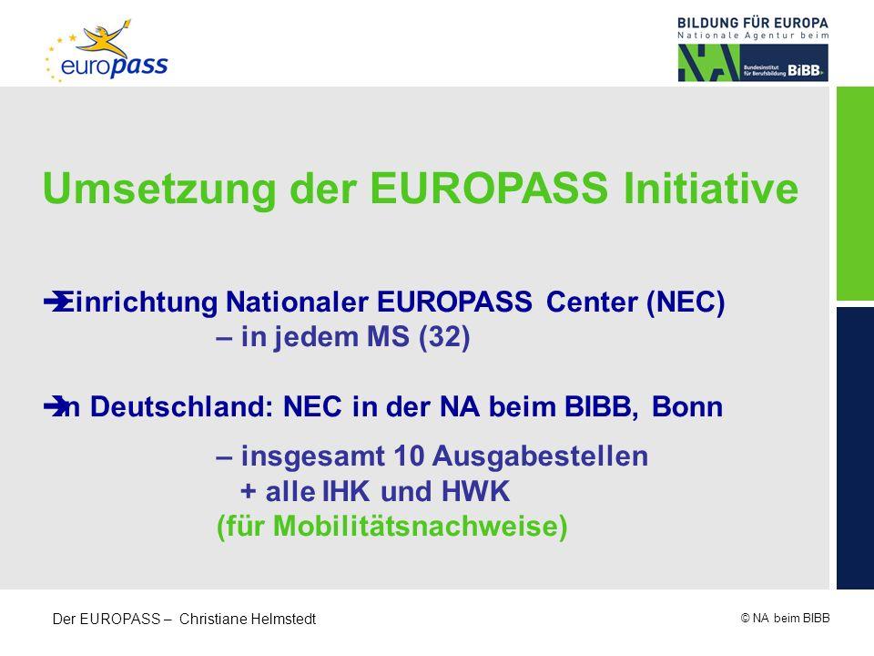 © NA beim BIBB Der EUROPASS – Christiane Helmstedt Umsetzung der EUROPASS Initiative Einrichtung Nationaler EUROPASS Center (NEC) – in jedem MS (32) I