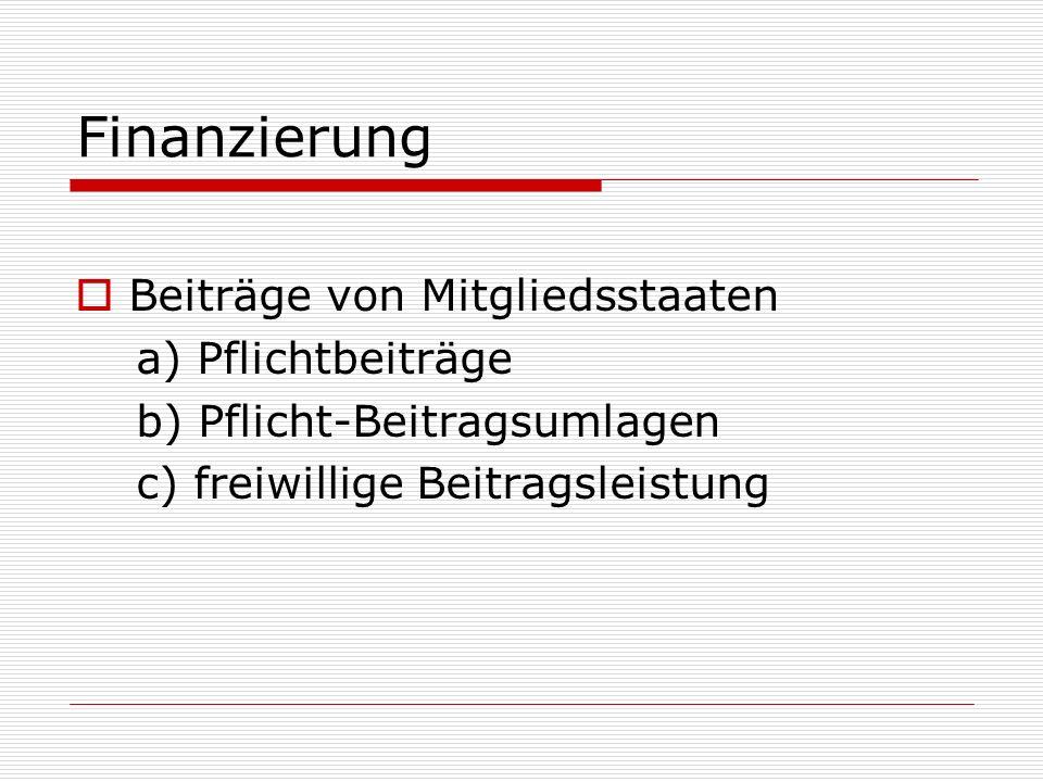 Finanzierung Beiträge von Mitgliedsstaaten a) Pflichtbeiträge b) Pflicht-Beitragsumlagen c) freiwillige Beitragsleistung