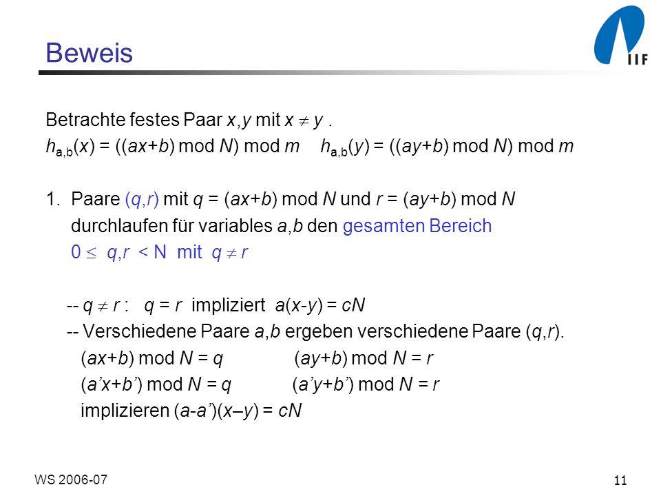 11WS 2006-07 Beweis Betrachte festes Paar x,y mit x y.