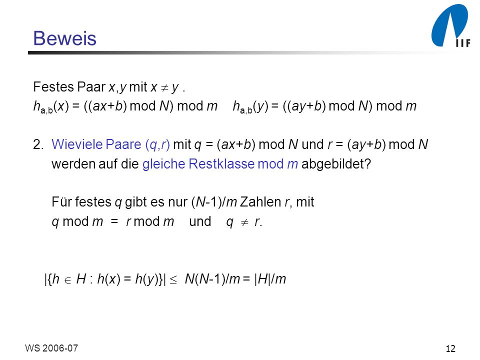 12WS 2006-07 Beweis Festes Paar x,y mit x y.