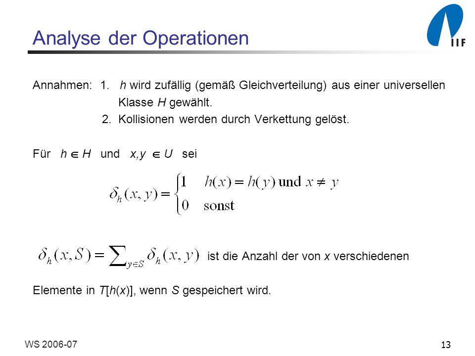 13WS 2006-07 Analyse der Operationen Annahmen: 1.