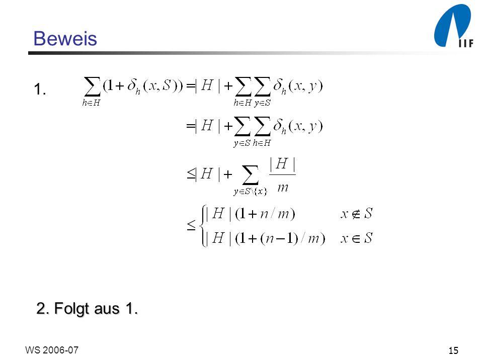 15WS 2006-07 Beweis 1. 2. Folgt aus 1.