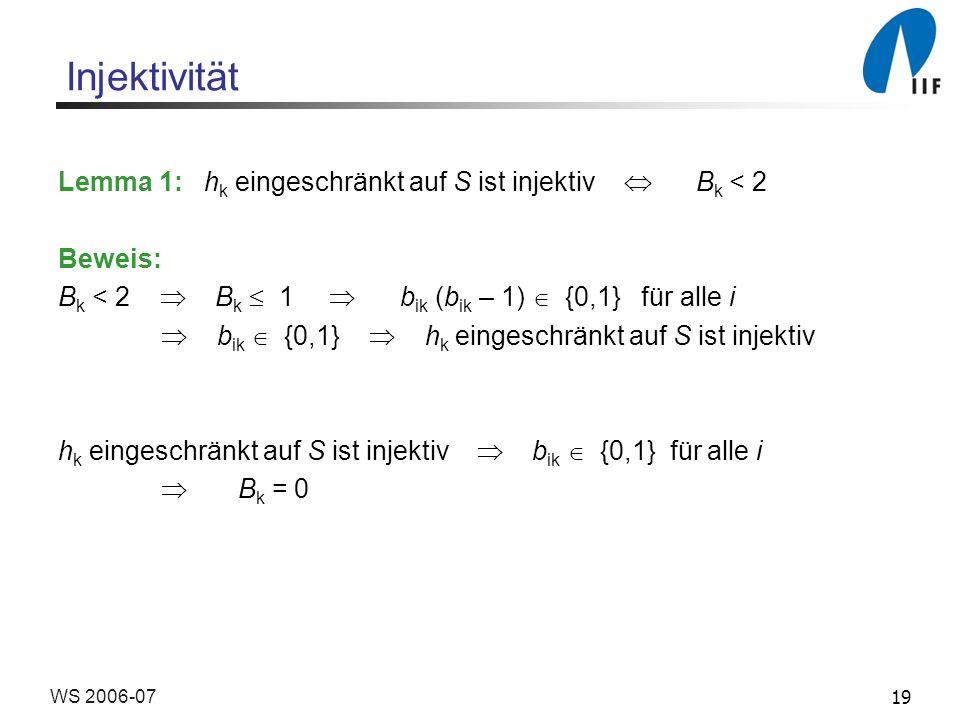 19WS 2006-07 Injektivität Lemma 1: h k eingeschränkt auf S ist injektiv B k < 2 Beweis: B k < 2 B k 1 b ik (b ik – 1) {0,1} für alle i b ik {0,1} h k eingeschränkt auf S ist injektiv h k eingeschränkt auf S ist injektiv b ik {0,1} für alle i B k = 0
