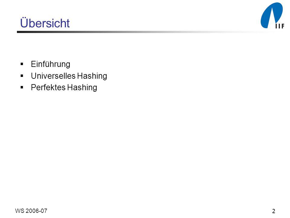 2WS 2006-07 Übersicht Einführung Universelles Hashing Perfektes Hashing