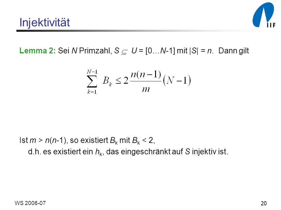 20WS 2006-07 Injektivität Lemma 2: Sei N Primzahl, S U = [0…N-1] mit |S| = n.